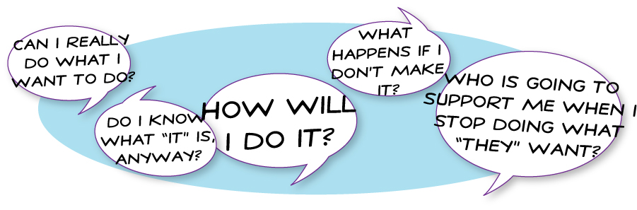 Can I really do what I want to do? Do I know what it is anyway? How will I do it? What happens if I don't make it? Who is going to support me when I stop doing what 'they' want and start doing what I want?